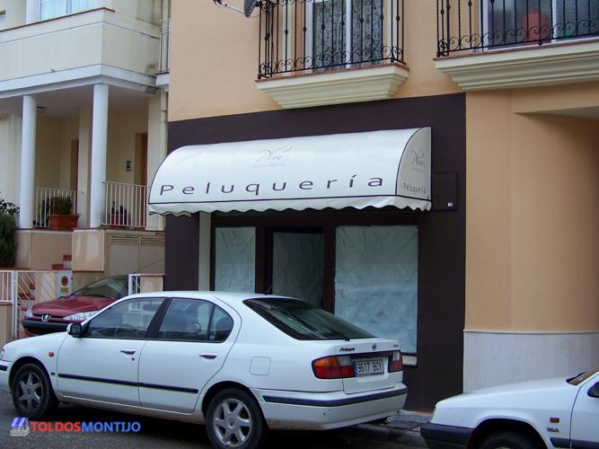 Toldos Montijo, capota de peluquería fachada